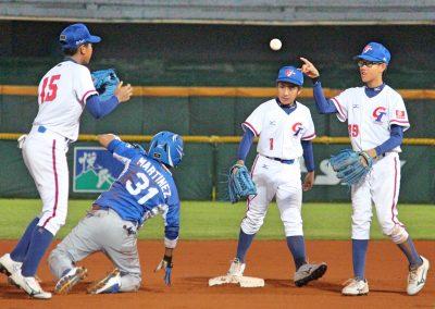 20170805 U-12 Baseball World Cup (from left) Han Shuo Heng Chinese Taipei Tito Martinez Nicaragua Chao CHia Cheng Chinese Taipei Yang Yi Cheng Chinese Taipei