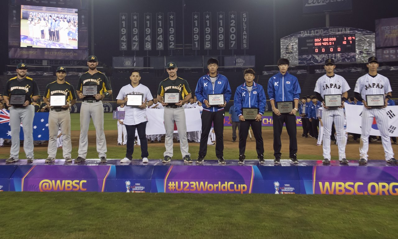 5 nations represented on U-23 All-World Baseball Team, led by MVP Yusuke Masago of Japan