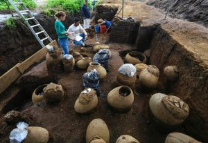 A pre Hispanic burial site unearthed while building a new baseball stadium in Nicaragua